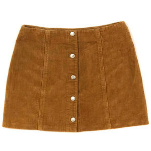 Brown Corduroy Button-Down Mini Skirt. Small